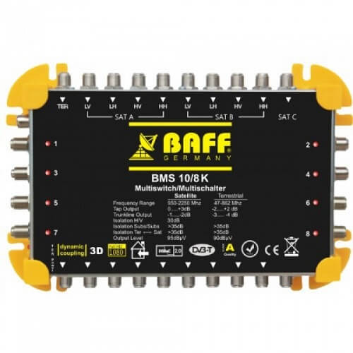 baff gold serisi 10-8 multiswitch uydu santrali